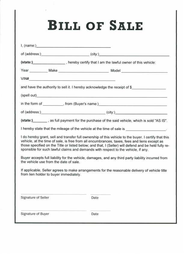 Bill Of Sale Form For Car